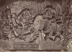 Hullabeed. The Great Temple. Sculptures from the west front. [Hoysaleshwara Temple, Halebid.]